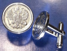 Antique 1915 Imperial Russia Silver Eagle Coin Cufflinks w Sterling Silver Backs