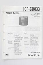 Sony icf-cd833 CD ORIGINALE Clock Radio Service-Manual/Istruzioni/Schema Elettrico! o74