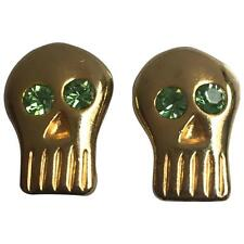 BillyBoy* 1989 VTG Surreal Bijoux Gold Tone and Green Crystal Skull Earrings