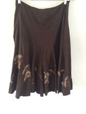 M&S Per Una Skirt Floral Embroidered Flower Faux Suede Floaty Size 12  R2566