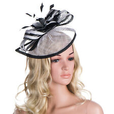 Handmade Women Sinamay Fascinator Comb Feather Hat Cocktail Party Show A268