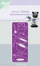 JOY CRAFTS CUTTING & EMBOSSING DIE STENCIL LOVE HOME CUTLERY POTS 6002/0341
