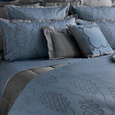 NWT Yves Delorme Calligraphie Baltic Blue Platine Grey KING Pillow Sham SET $240