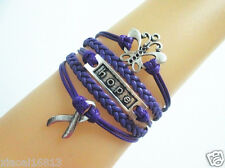 Nice Butterfly/Hope/Cancer Ribbon Charms Braided Leather Bracelet- Purple
