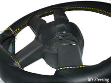 BLACK REAL LEATHER STEERING WHEEL COVER FOR MAN TGL TRUCK 05-10 YELLOW STITCHING