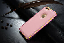 Luxury GENUINE LEATHER Back Case Aluminum Bumper Cover For Samsung iPhone