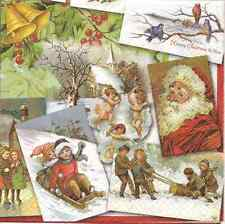 4 Single Paper Napkins for Decoupage Nostalgic Christmas Vintage Santa Children