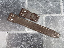 NEW 22mm IWC Brown CALF Leather Strap watch Band with Rivet BIG PILOT Beige