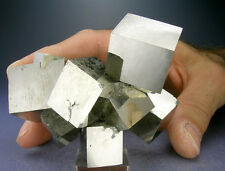 SUPER SHINY 9-CUBE GOLDEN PYRITE CRYSTALS CLUSTER, 3-D VIDEO, SPAIN