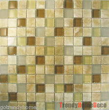 SAMPLE - Honey Onyx Brown Glass Mosaic Tile backsplash Kitchen wall sink bath