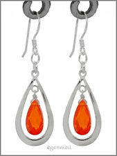 925 Silver Pear Drop Dangle Earring CZ Orange #65265
