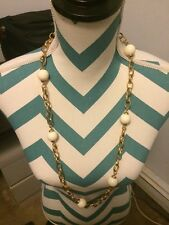 BANANA REPUBLIC GOLD TONE PEARL Beautiful White Ball Necklace Long New NWT Tags