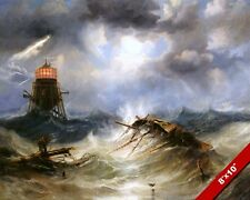 SHIPWRECK IN A STORM AT IRWIN LIGHTHOUSE SEASCAPE PAINTING ART REAL CANVAS PRINT
