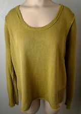 Women's Eileen Fisher Mustard Yellow 100% Linen Baggy Pullover Sweater Size M