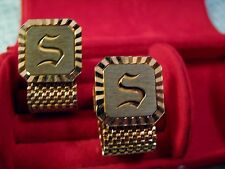 Designer Signed SWANK Cuff Links Engraved Initial S Monogram Goldplated Mesh