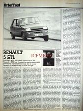 1982 RENAULT '5 GTL' Car Auto Report Clipping (2-Sided Cutting)
