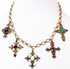 HAUTE COUTURE MALTESE CROSS Chunky Crystal Rhinestone Pendant Statement Necklace