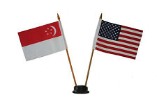 "USA & SINGAPORE 4"" X 6"" DOUBLE STICK FLAG WITH BLACK STAND ON 10"" PLASTIC POLE"