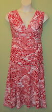 SIZE XL 16 KATIES SLEEVELESS PLUNGE BACK  DRESS RED WHITE ..@Lane-ends
