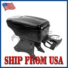 US Black Leather Center Console Armrest Box Storage+Cup Holder For Universal FM