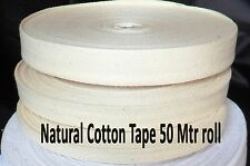 38mm Herringbone Cotton Tape Twill Natural Beige Binding Bunting Trimming 50MTR
