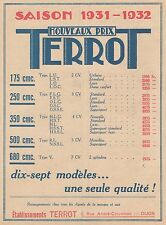 Y9912 Motos TERROT - Nouveaux prix - Pubblicità d'epoca - 1931 Old advertising