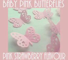 10 BABY PINK Strawberry Flavour Butterflies CUT Cake Toppers Edible Rice Paper
