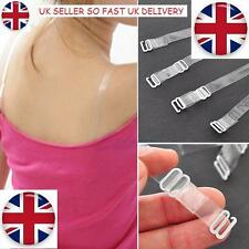 x6 Pairs Transparent Clear Bra Straps Invisible Adjustable Detachable Metal Hook