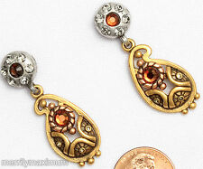 Chico's Signed Earrings Gold Tone Paisley Silver & Amber Crystal Accents Dangles