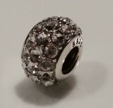 Genuine 925 Sterling Silver PAVE Clear CZ Charm Bead for European Bracelet