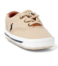 Nib NEW Baby Boy Khaki Canvas VAUGHN Ralph Lauren Polo Easter shoes Sz 2