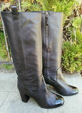 AUTHENTIC CHANEL BLACK PATENT CAP TOE LAMB CC LEATHER TALL BOOTS 37.5  7.5