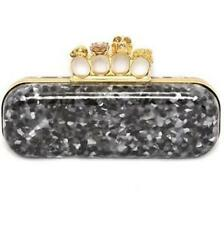 Alexander Mcqueen Flecked Plexi Crystal Skull Knuckle Duster Clutch Bag $2295