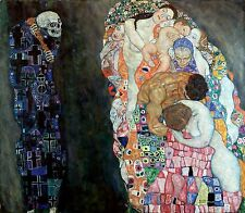"Gustav Klimt ""The Death and Life"" canvas print giclee 8,3X8,3 reproduction"