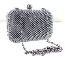 Silver Diamante Clutch Wedding Crystal Prom Diamond Party Purse Evening bag