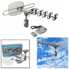 TV Digital Outdoor Amplified Antenna DTV VHF HDTV UHF HD 360 Rotation Rotor -NIB
