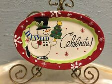 Fitz and Floyd Merry & Bright SNOWMAN w Christmas Tree Sentiment Tray