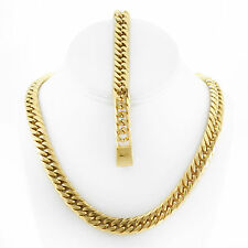 SOLID 14K GOLD FINISH THICK HEAVY MIAMI CUBAN LINK CHAIN & BRACELET 12MM JayZ