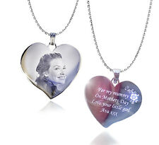 Personalised Photo & Text Engraved Heart Necklace + Pendant Mother's day Gift
