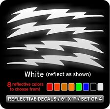 Lightning Bolts Reflective Decals Stickers / White