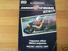 B 1985 JOHNSON GRAND PRIX BELGIUM SPA FRANCORCHAMPS 7-7-1985 PROGRAMMA