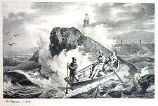 """Lithographie d'HORACE VERNET, """"La barque"""", 1818"""