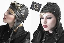 Chapeau bonnet aviateur gothique punk steampunk cuir rivets laçage cuir Punkrave