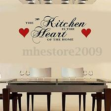 The Kitchen is The Heart Of The Home Sticker Autocollant Mural Cuisine 60x28cm