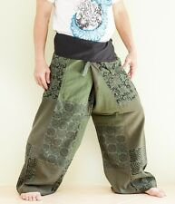 HIPPIE UNIQUE PATCHWORK THAI FISHERMAN TROUSERS MEDITATION YOGA PANTS GREEN SOL3