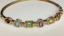 5.25ct Genuine Multi Color Gemstones Bangle Bracelet Solid 14K Yg Estate Jewelry