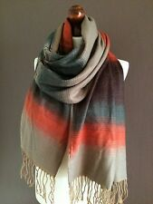 LARGE LADIES/MENS SOFT WOOL FASHION BEIGE/GREEN/ORANGE WINTER SCARF BRAND NEW