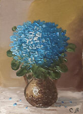 Original ACEO still life oil painting FORGET-ME-NOT bouquet 2.5 x 3.5""