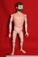 Original VINTAGE ACTION MAN 1970s Metal Remache Marrón Pelo figura desnuda CB26395