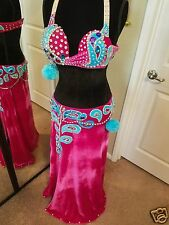 PROFESSIONAL DESIGNER VELVET RED  BELLY DANCE COSTUME BY SOL DANCE